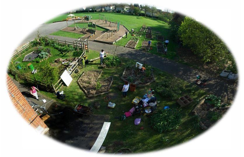 Visione di insieme del giardino commestibile della Geoffrey Field Junior School di Reading